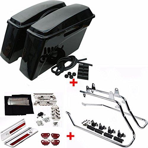 ASD Vivid Black Hard Regular Size Saddlebags W Chrome Conversion Support Mount Bracket Kit Latch Lock Key Kit For 1997-UP Harley Softail Model FXST