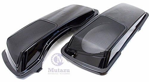 Mutazu CVO 6 x 9 Speaker Lids Vivid Black for Harley Touring Saddlebag 1994-2013