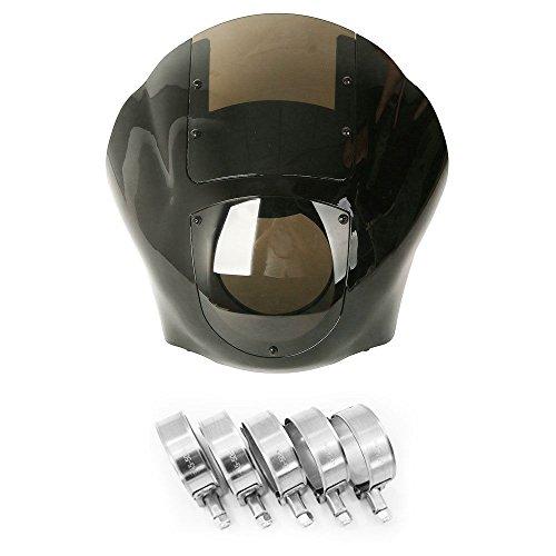 Vivid Black Quarter Head FairingSmoke Windshield w45-50mm Fork Stainless Steel Clamp For Harley Sportster 883 1200 Dyna Fat Bob