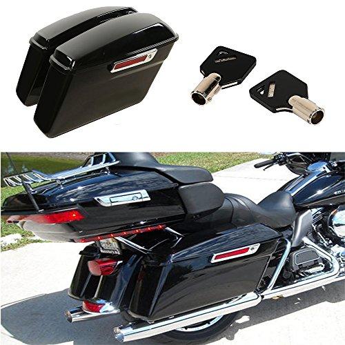 XMT-MOTO Vivid Black Finish Hard Saddle Bags Trunk W Latch keys For Harley Touring Models 2014 2015 2016 2017 2018