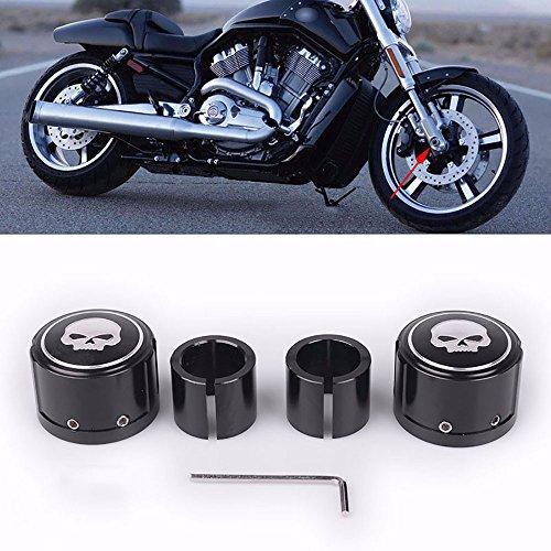 2pcs Black Skull Front Axle Nut Cover Cap CNC Aluminum Rear Axle Nut Covers Bolt Kit For Harley Davidson VRSC XG XL