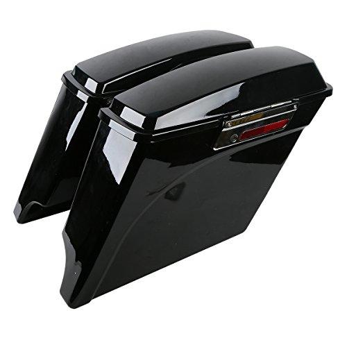 XFMT 5 Vivid Black Stretched Extended Hard Saddlebags For Harley FLH FLT