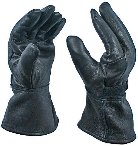Black Gauntlet Deerskin Motorcycle Glove With 40 Gram Thinsulate Lining