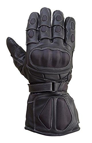 Motorcycle Carbon Fiber Knuckle Genuine Goatskin Leather Winter Glove Black