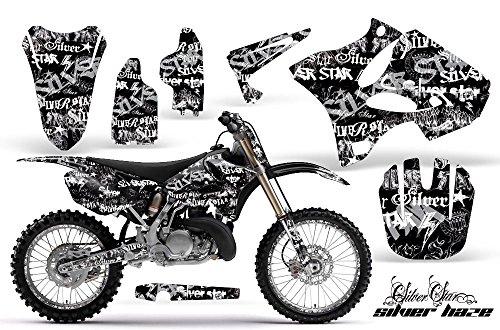 Yamaha YZ 250 2 Stroke Motocross Graphic Kit 2008 - Silver Star Silverhaze White - Blue - AMR Racing