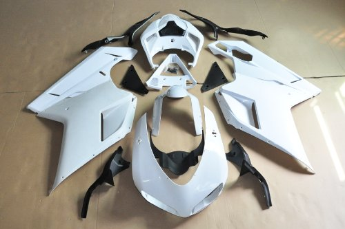 Wotefusi Brand New Motorcycle ABS Plastic Unpainted Polished Needed Injection Mold Bodywork Fairing Kit Set For 2007 2008 2009 Ducati 1198 1098 848 White Base Color
