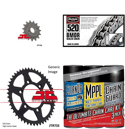 BIKEMASTER 520 BMOR Sealed Chain BlackGold with MAXIMA Wax JT Front Rear Sprocket Kit for Street DUCATI 600 SS 1995-1999