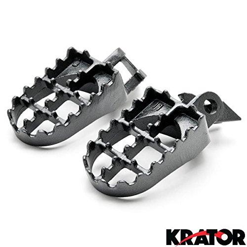 Krator® Kawasaki Motocross Mx Black Foot Pegs - Kx125 / Kx250 (1997-2001) Dirtbike Foot Rest Stomper Footpegs