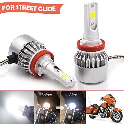 Super Bright Harley Headlight Dual-bulb LED Kit for Street GlideRoad King or CVO With 2 Bulbs High Low Beam Headlight