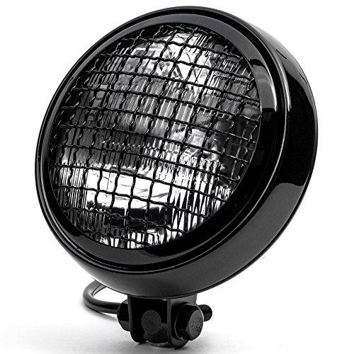 Krator 6 Black Motorcycle Headlight wMesh Grill High Low Beam Headlamp Bottom Mount