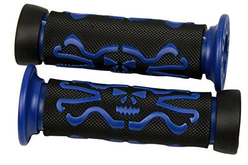Blue 3D Skull Skeleton Handlebar Gel Hand Grips With Skull End caps for 2002 Suzuki Katana 600 GSX600F