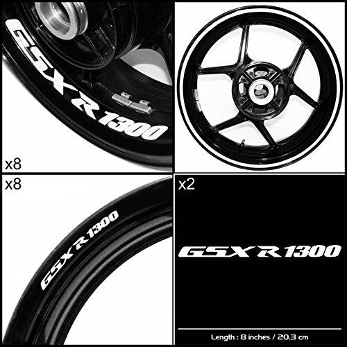 Stickman Vinyls Suzuki GSXR 1300 Hayabusa Motorcycle Decal Sticker Package Gloss White Graphic Kit