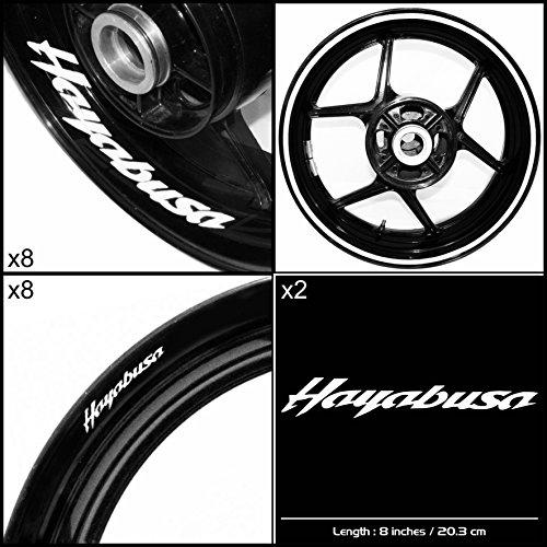 Stickman Vinyls Suzuki Hayabusa Motorcycle Decal Sticker Package Gloss White Graphic Kit