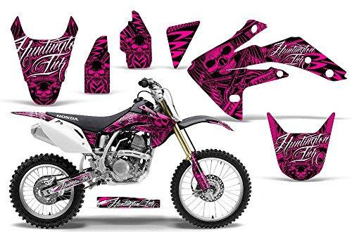 2007-2013 Honda CRF 150R AMRRACING ATV Graphics Decal Kit-Skulls and Hammers-Pink