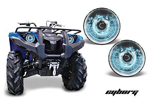 AMR Racing ATV Headlight Eye Graphic Decal Cover for Yamaha Grizzly 660450400350125 - Cyborg Blue