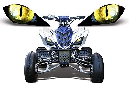 AMR Racing ATV Headlight Eye Graphic Decal Cover for Yamaha Raptor 700250350 - Eclipse Yellow