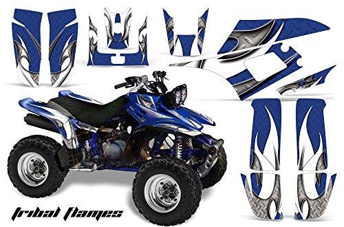 AMR Racing Yamaha Warrior 350 ATV Quad Graphic Kit -Tribal Flames Blue White