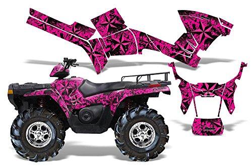 Northstar-AMRRACING Quad Graphics decal kit fits Polaris ATV Sportsman 400500800 2005-2010-Pink
