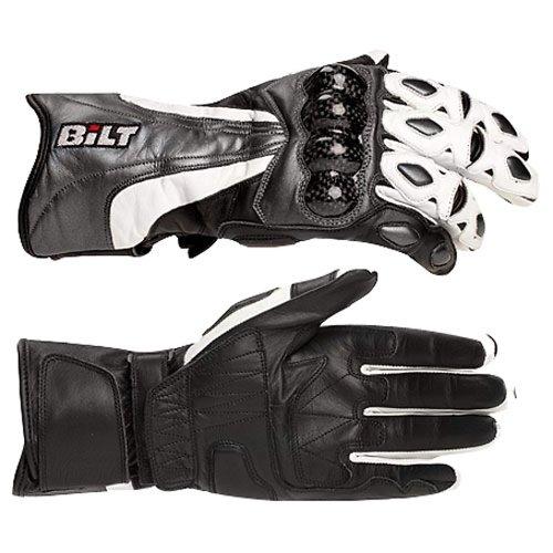 BILT Trackstar Leather Motorcycle Gloves - LG BlackWhiteGunmetal