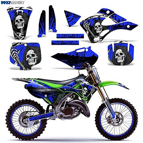 Kawasaki KX125 KX250 1999-2002 Graphics Kit Dirt Bike MX Motocross Decal KX 125 KX 250 REAPER BLUE