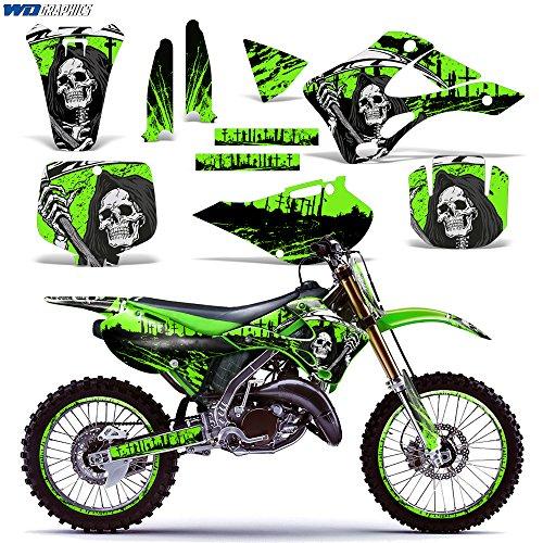 Kawasaki KX125 KX250 1999-2002 Graphics Kit Dirt Bike MX Motocross Decal KX 125 KX 250 REAPER GREEN