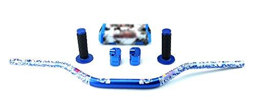 STONEMEN Motorcycle 28mm Fat Bars 1 18 Handlebars  Grips Bar Riserbar Pad For Pit Dirt Bike Motocross Racing Blue