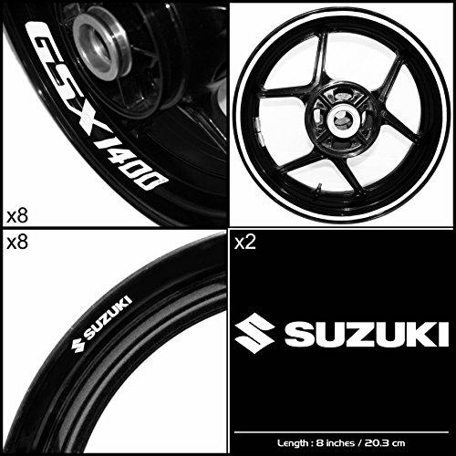 Stickman Vinyls Suzuki GSX 1400 Motorcycle Decal Sticker Package Gloss White Graphic Kit
