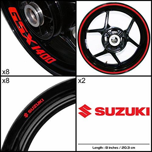 Stickman Vinyls Suzuki GSX 1400 Motorcycle Decal Sticker Package Reflective Red Graphic Kit