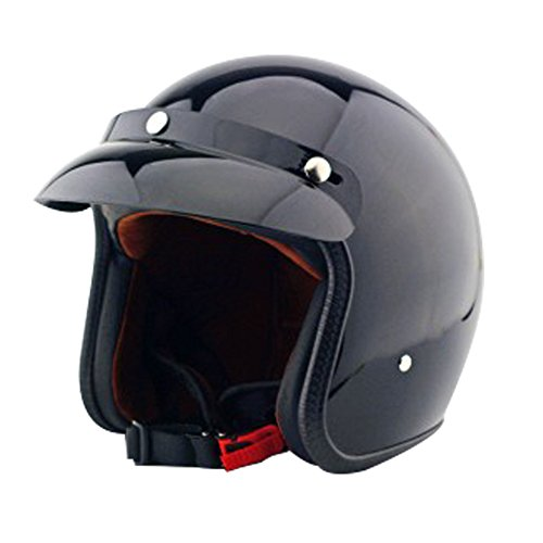 Tpfocus Vintage Universal Motorcycle 34 Open Face Helmet With Removable Snap On Bubble Visor Bright Black XL