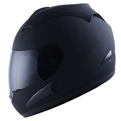 Motorcycle Street Bike Matt Black Full Face Helmet  Two Visors Smoked Clear