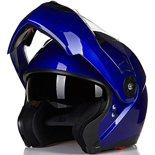 ILM 8 Colors Motorcycle Modular Flip up Dual Visor Helmet DOT L Blue