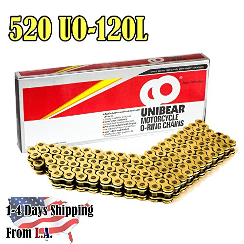 Unibear O-Ring 520 120 Links Motorcycle Chain GOLD With 1 Connecting Link Japan Technology