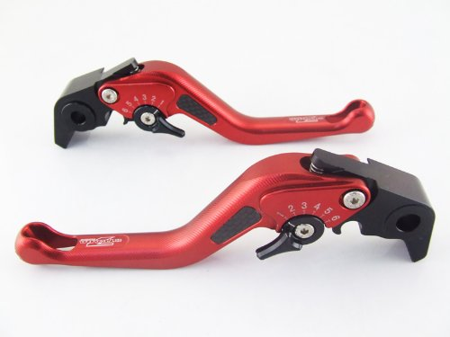 Strada 7 Racing Carbon Short Adjustable Levers Pair Red For Yamaha YZF R6