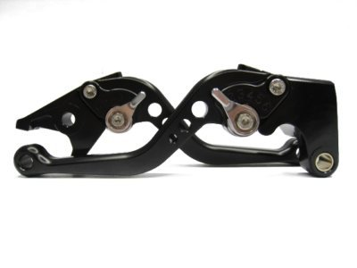 POWTEC PTBS-230 Adjustable short Brake and Clutch Levers for YAMAHA YZF R6 05-13-BLACK WITH SILVER