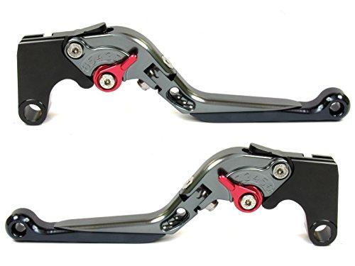 Emotion Extreme-Extendable-Foldable-Series Motorcycle Clutch Brake Lever Set for Suzuki DL1000 V-STROM 2002-2016 - Red  Titanium-Black AdjusterLever