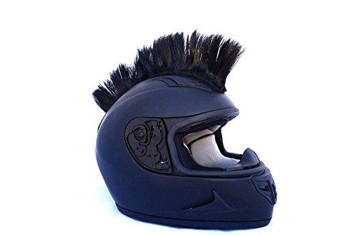 Helmet Hawks Jet Black Mohawks Motorcycle BMX Bike Helmet Mohawk w Sticky Velcro Adhesive