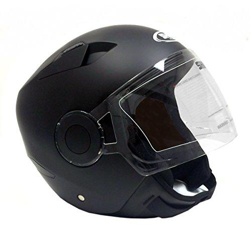 Motorcycle Open Face Helmet Jet Pilot - SHIRO - DOT Approved - Matte Black - XXL