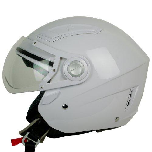 PGR OP01 34 Moped Scooter Motorcycle Helmet Open Face Jet Pilot ATV Quads Ruckus Large Gloss White