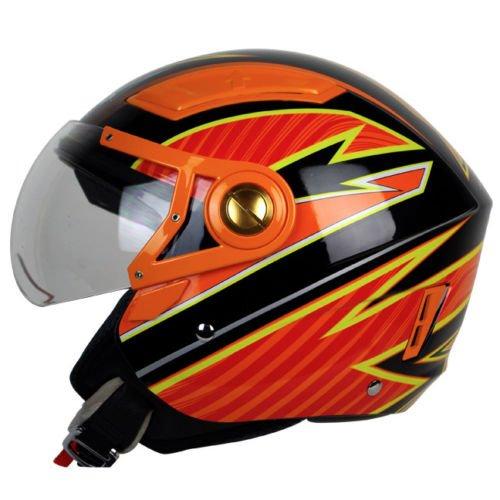 PGR OP01 ARROW 34 Moped Scooter Motorcycle Helmet Open Face Jet Pilot ATV Quads Ruckus Large Black Orange