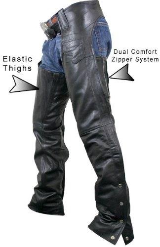 Xelement 7553 Womens Black Advanced Dual Comfort Leather Chaps - 6