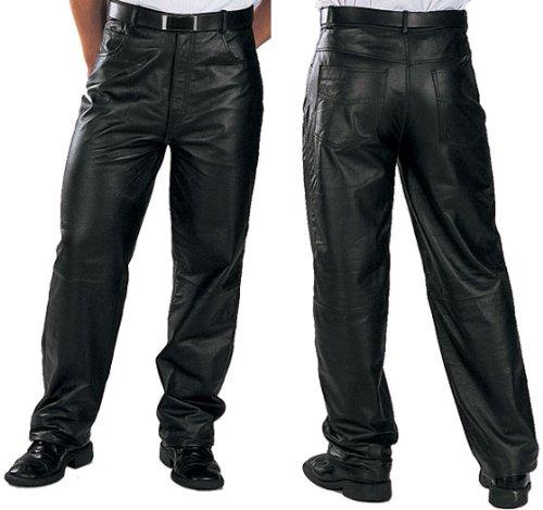 Xelement 860 Classic Mens Black Loose Fit Leather Pants - 38