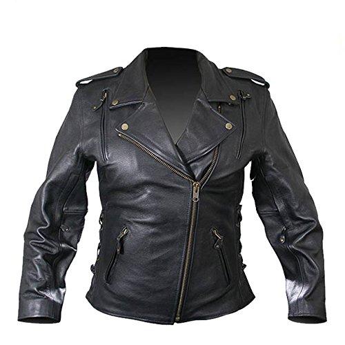 Xelement B8301 Classic Womens Black Cowhide Leather Jacket - Medium