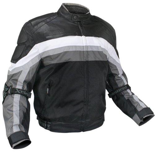 Xelement CF330 Mens Grey LeatherFabric Motorcycle Jacket with Advanced Level-3 - Medium
