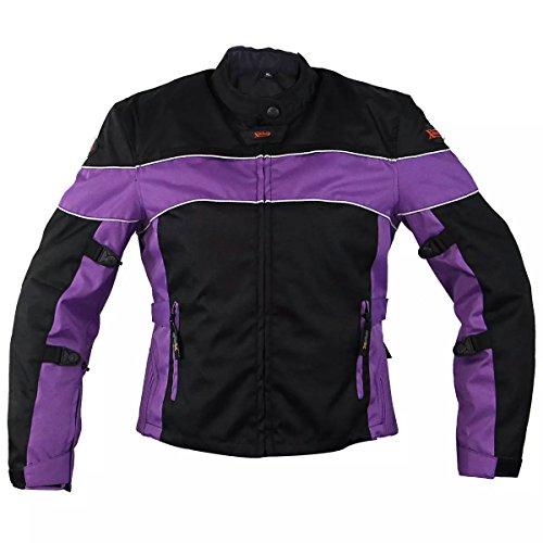 Xelement CF464 Aegis Womens BlackPurple Jacket Tri-Tex Armored Motorcycle Jac - X-Large