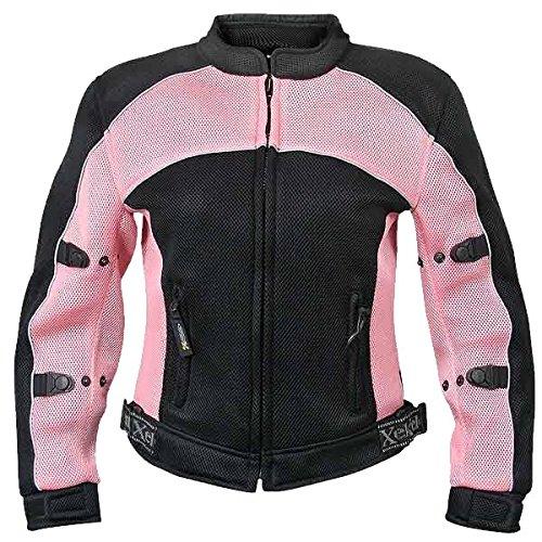 Xelement CF508 Womens BlackPink Mesh Armored Jacket - Medium