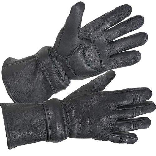Xelement XG852 Mens Black Insulated Leather Deerskin Gauntlet Motorcycle Gloves - 2X-Large