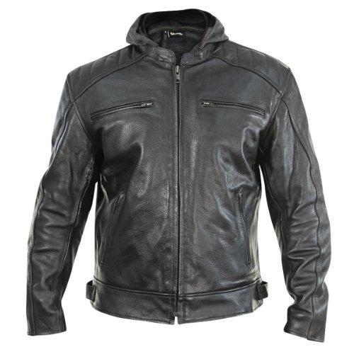 Xelement XS913 Throttle Boss Mens Black Leather Jacket - Large