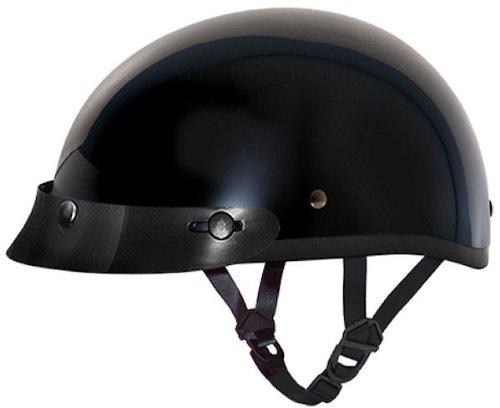 Motorcycle Half Helmet DOT DAYTONA SKULL CAP- HI-GLOSS BLACK by Daytona - M