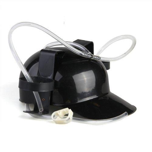 SODIALRHeadset has Biere Plastic Black Cap Helmet Beer Drinking Coke Hat