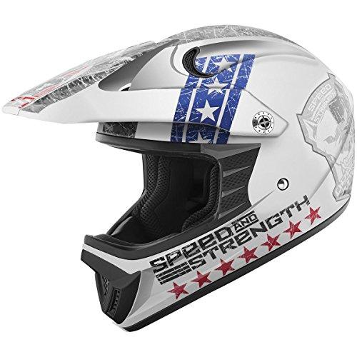 Speed and Strength Dogs of War Full Face SS2300 Motorcycle Helmet RedWhiteBlue Medium